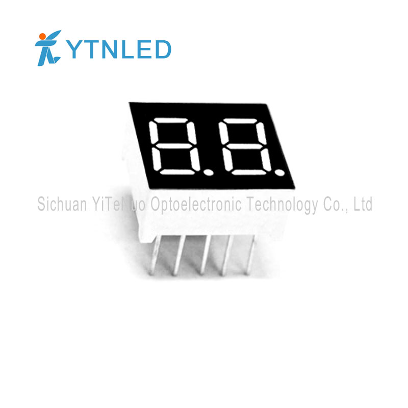 0,36 инча 2-цифрен червен 7-сегментен LED дисплей, цифрова тръба