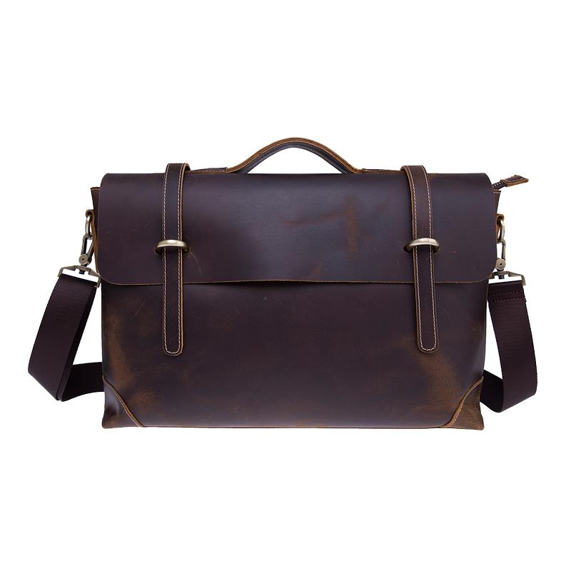 Висококачествени луди кончета от естествена кожа мъже лаптоп чанта рамо рамо