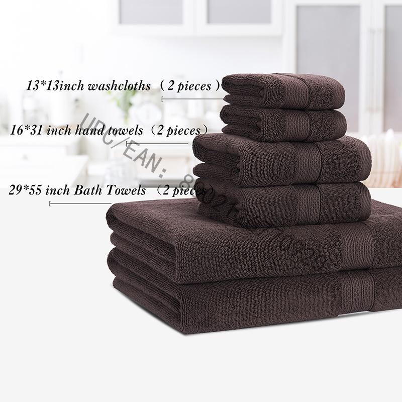 JMD TEXTILE Комплект хавлиени кърпи за баня, пенирани памучни кърпи сив комплект от 6 хавлии Кухненски басейн за домакинство, кърпи издръжлив абсорбиращ удобен изключително голям кърпа (2 кърпи, 2 кърпи за ръце, 2 кърпи за баня)