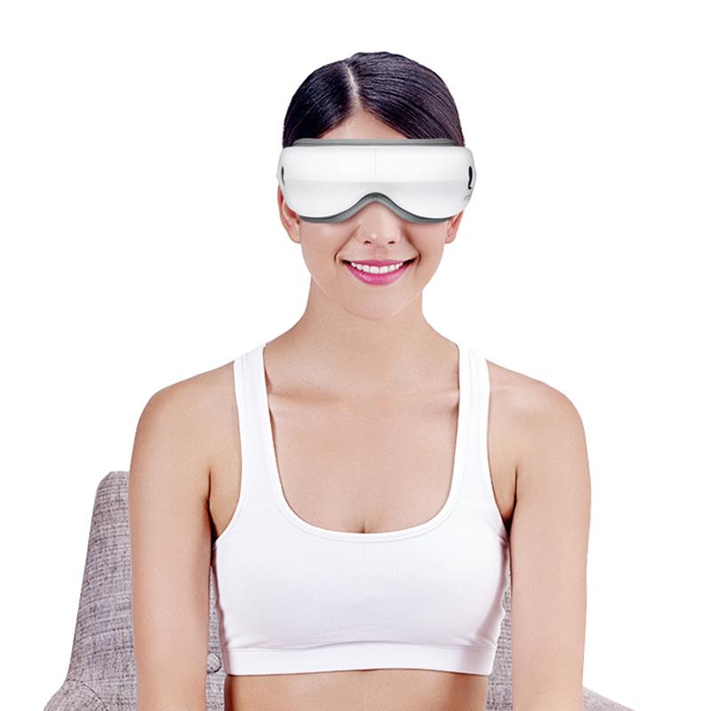 Презареждащ се 180 ° сгъваем преносим електрически безжичен Bluetooth масажор за очи с налягане на въздуха, горещ компрес, вибрации, музика за умора на очите, сухи очи и тъмни кръгове