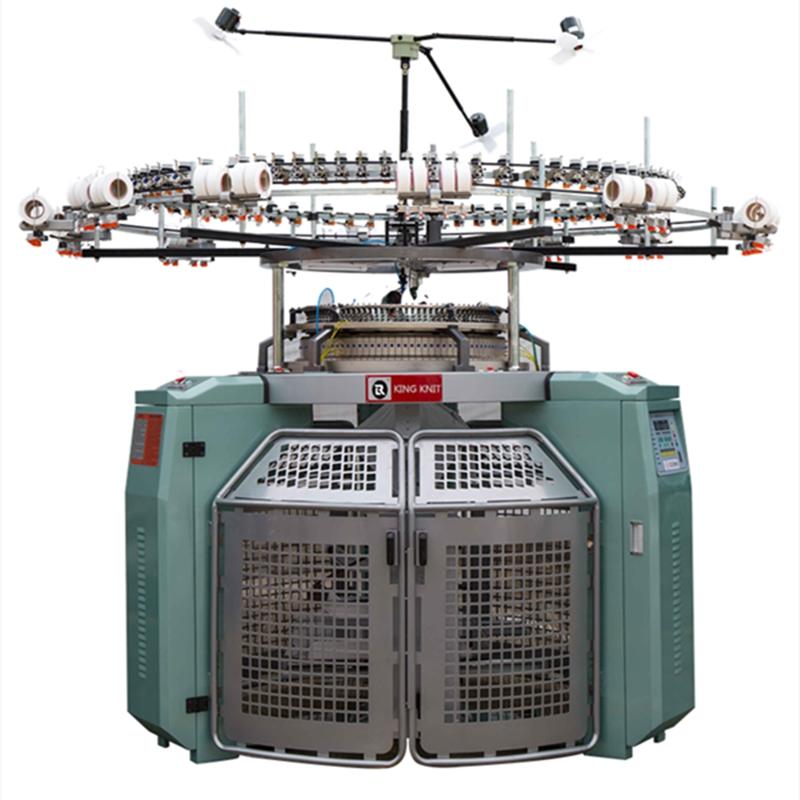 Висока скорост 4-коловоз джакквардов размер на тялото едноцилиндрова триколка машина за плетене